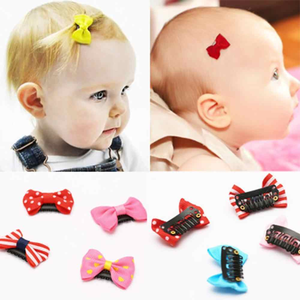 Mix 10Pcs/lot Bow Baby Hair Clips Mini BB Print Solid Strip Knot Ribbon Multi Metal Cartoon Hairpins For Girls Hair Accessories