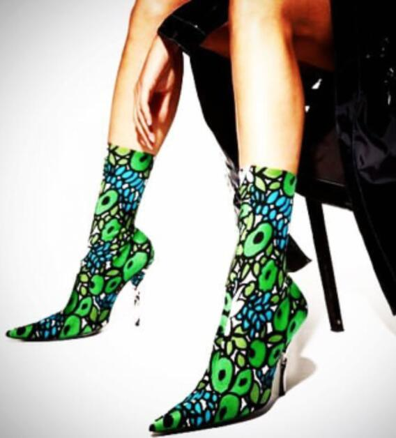 Spring Fashion Green Print Women Stretch Ankle Boots 2018 Super Hot Ladies Slip On High Heel Boots Sexy Party Stiletto Boots slip on winter boots stretch lycra