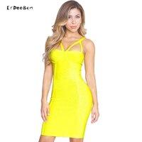 Summer Sexy Party Bodycon Bandage Dresses Rayon 2017 Women Yellow Sleeveless Spaghetti Strap V Neck Bandage