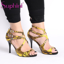 Free Shipping Argentina High Heel Flamenco Suphini Snake Skin Material Tango Dance Shoes free shipping suphini high heel woman dance shoes leopard print unique design tango dance shoes
