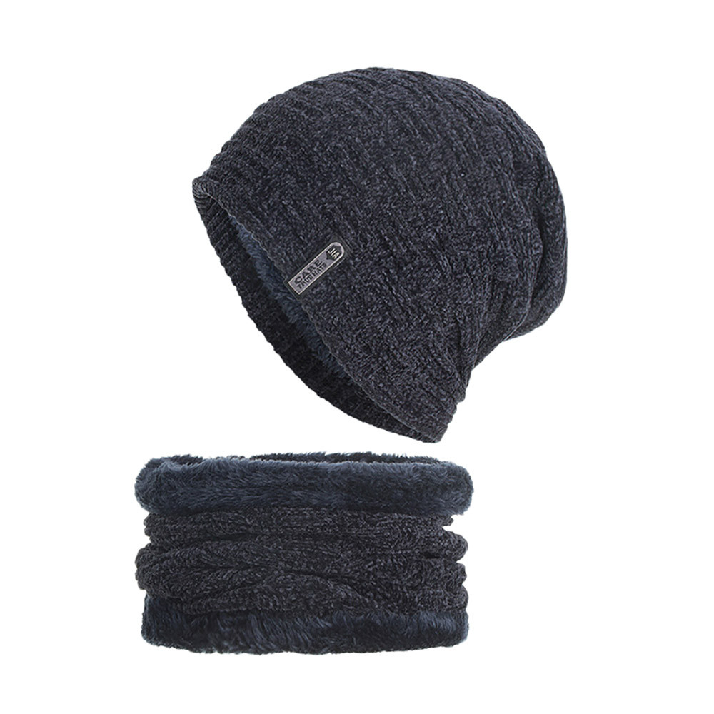 2-Pieces Winter Beanie Hat Scarf Set Warm Knit Thick Skull Cap Unisex gorras para hombre Hip-hop