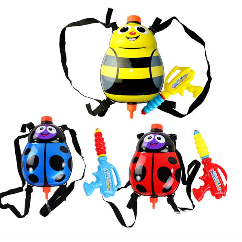 Funny Water Gun Toys Kids Cute Ladybird Outdoor Game Super Soaker Backpack Sprayer Head Water Pressure Outdoor Funny Sports