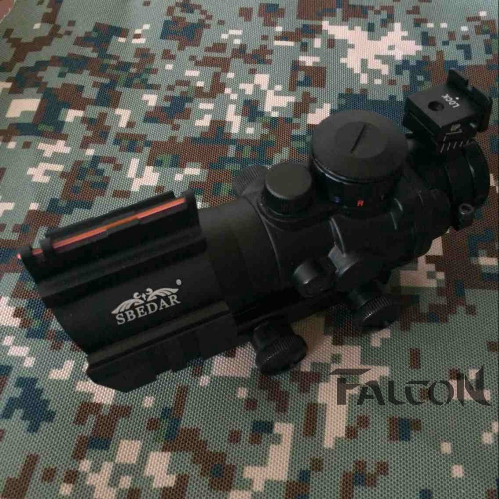 ФОТО 4X32 Tactical Hunting Shooting  ACOG 4X32 RGB Rifle Scope with Fiber Optic Sight Rifle Scope Paragraph color 20MM rail MOUNTS