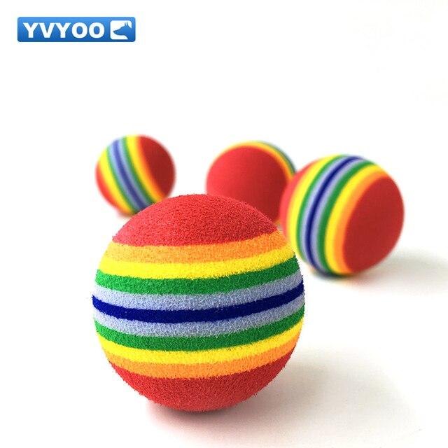 YVYOO Colorato EVA Arcobaleno palla Gatto Cane giocattolo palla Gattino Pet supp