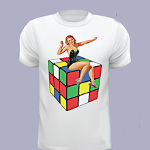 La marca de los hombres de algodón básica Tops Cubo de Rubik T camisas  hombres Pin T camisa pin Cubo de Rubik T camisa película . 7bd372b6439