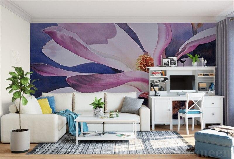 Kustom Modern 3D Foto Wallpaper 3d Lukisan Dinding Wallpaper Ungu Romantis Estetika Bunga Lily Modis Modern