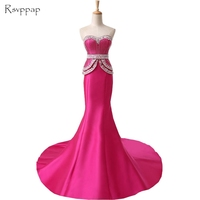 Long Evening Dress 2018 New Arrival Mermaid Women Formal Dresses Sweetheart Beaded Floor Length Hot Pink Evening Gowns
