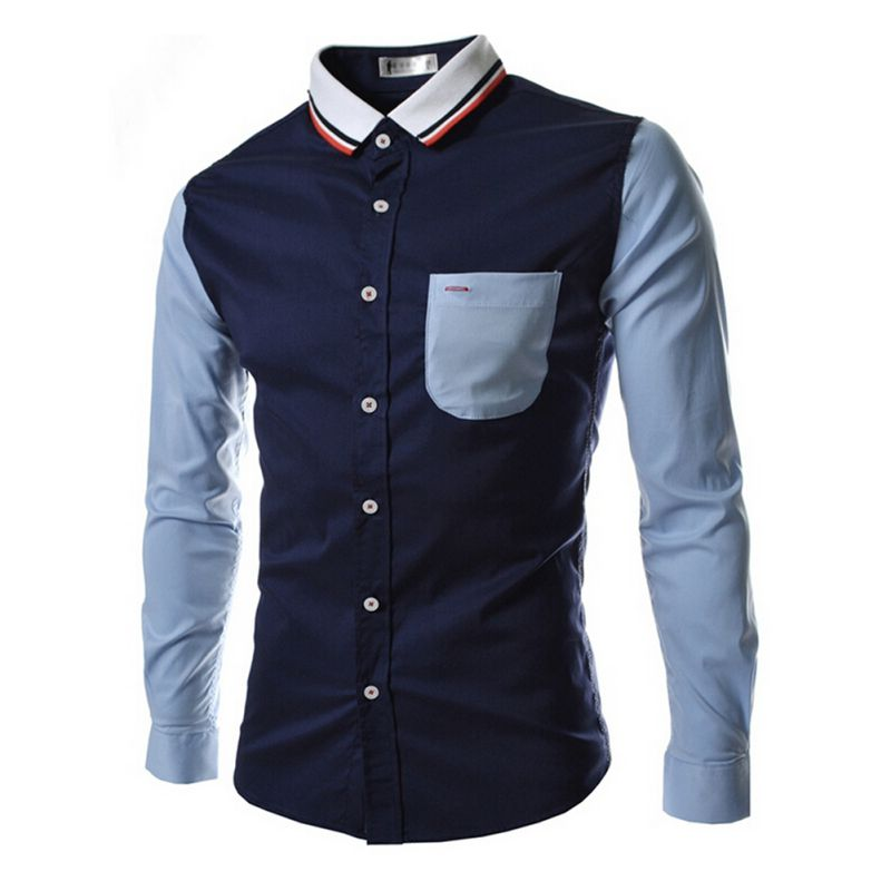 2019 Brand Shirts Men Long Sleeve Casual Male Slim Fit Spell Color Pocket Mens Dress Shirts Business Clothing Plus Size X3