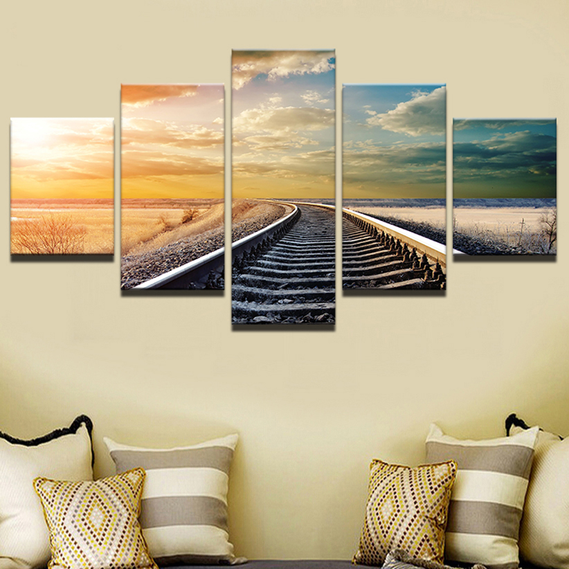 Painting Modern Frame Art Poster Wall 5 Panel Railway Picture Home Decor Sunset Landscape Print On Canvas For Living Room