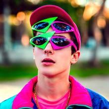 Óculos de sol vivibee vermelho, óculos escuros divertidos, hip hop, único, punk roy, roxo, 2019