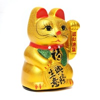 New 1Pc Gold Shaking Hands Lucky Wealth Waving Cat Oranment For Home Office Decoration Wealth Fortune