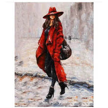 Diy Canvas Painting For Wall Decoration,Painting By Number 40x50cm,Stylish Woman,Paint Kits Adults