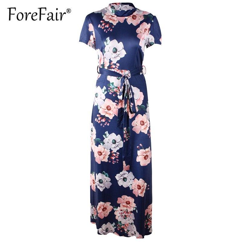804d9eba828 Forefair Floral Print Casual Loose Maxi Dress Women 2018 Summer Dress Short  Sleeve Turtleneck Tie Waist Long Dresses Robe Femme-in Dresses from Women s  ...