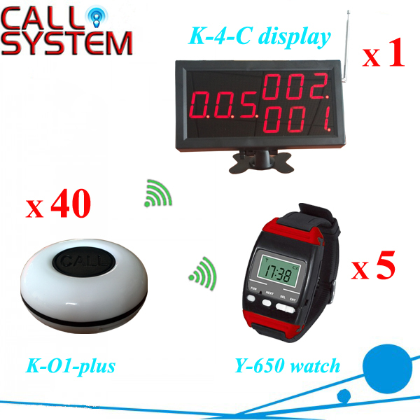 Catering Equipment Digital wireless service paging system (1 monitor 5 watch pager 50 table bell) one set wireless system waiter caller bell service 1 watch wrist pager with 5pcs table customer button ce passed