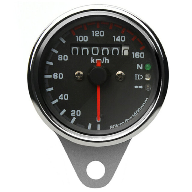 Universal Digital Speedometer DC 12V Motorcycle Gauge Dual Odometer Speedometer Gauge Backlight Signal Light 0 - 160 KM/H