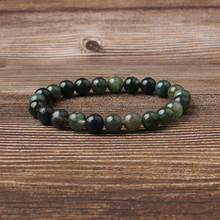 Linxiang Natural 4/6/8/10/12 mm water grass  Agate Bracelet Mens and Womens Fashion Energy Charm Jewelry Gift