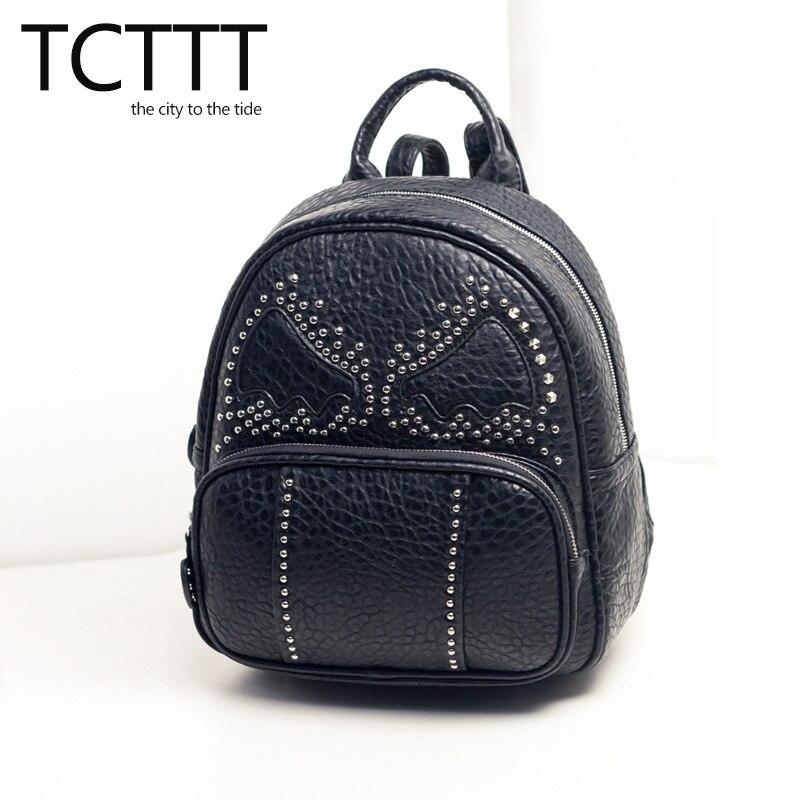 ФОТО TCTTT women backpack new 2016 Cartoon bag female school bags rivet PU backpacks for teenage girl fashion knapsack Korean Style