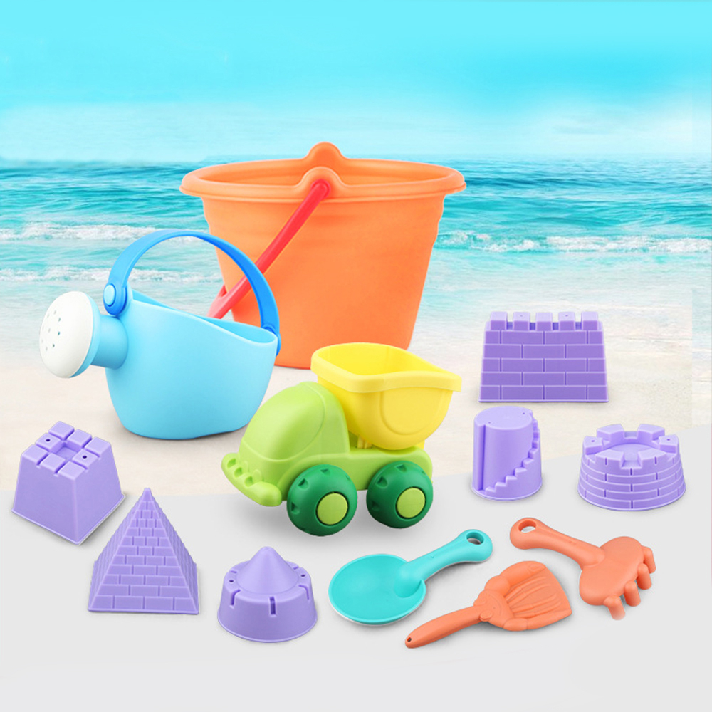2019 Baby Beach Toys Silicone Kids Beach Sand Game Toy Shovels Castle Rake Hourglass Bucket Beach Cart Kid Gift Mold Outdoor Toy