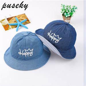 b1c2e36a22d Puseky Summer Cotton Baby Kid Caps Sun Bucket Hats Double