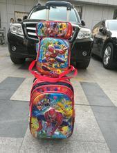 Spider-Man Children Trolley School Bags (trolley luggage +Lunch Box +pencil Case) set Cartoon children school bags trolley