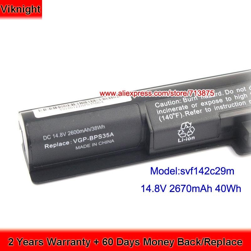 Genuine 14.8V 40Wh VGP-BPS35A Battery For SONY VAIO SVF142C29M Battery SVF152C29M 2670mAh laptop hongha original vgp bps35a laptop battery for sony vaio fit 14e 15e series bps35a svf1521a2e svf15217sc svf14215sc svf15218sc