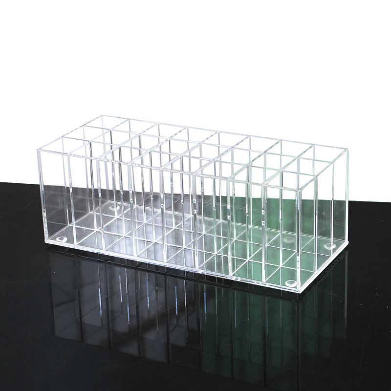 Acrilico Gloss Lip Titolare 24 Slot Rossetto Casella di Visualizzazione Del Basamento Vario Scatola di Immagazzinaggio di Trucco Cosmetico Dell'organizzatore Del Supporto