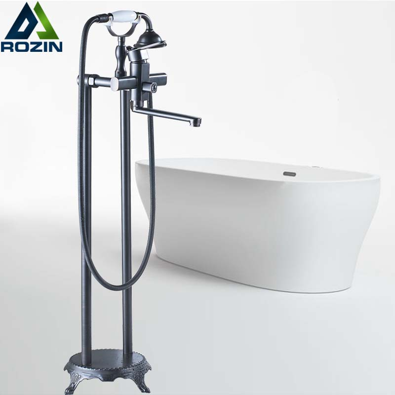 Free Standing Bathtub Faucet Single Lever with Hand Shower Bathroom Tub Shower Set Floor Mounted Hot Cold Water Taps luxury single lever bath tub shower set wall mounted shower faucet hot