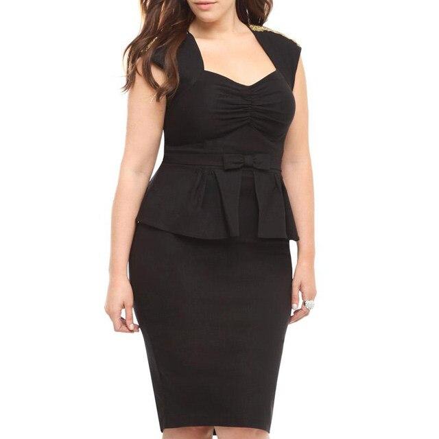 Online Shop 2016 New Elegant Summer Office Dresses Black Ruched