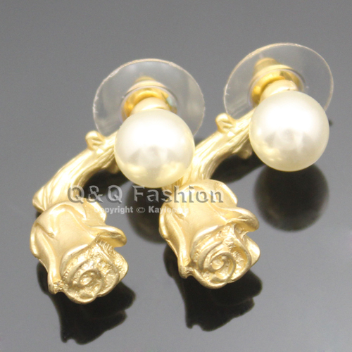 Blogger Fav Celebrity 3D Powder Rose Pearl MUST HAVE Love Earrings Ear Studs  Jewelry 2017 New
