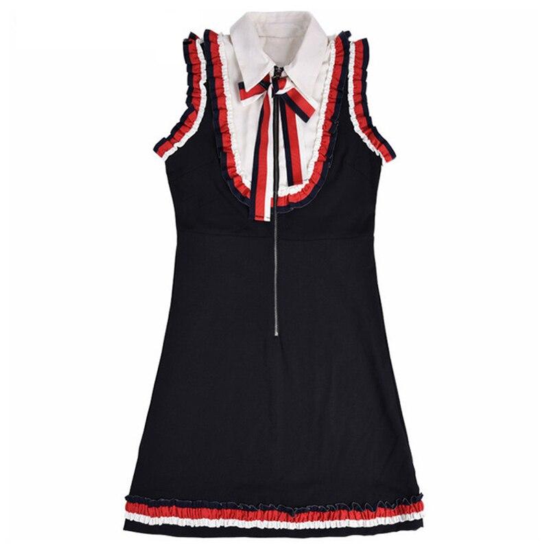 Vintage Summer Autumn Women Dress 2018 High Quality Runway Designer Slim Sweet Bow Tie Petal Sleeve