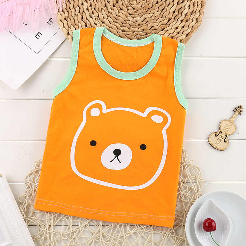 1-6Y Toddler Boys Bear Aircraft T-shirt Kids Baby Sleeveless tshirt Children Girls boys Tops shirt Summer 2019 New