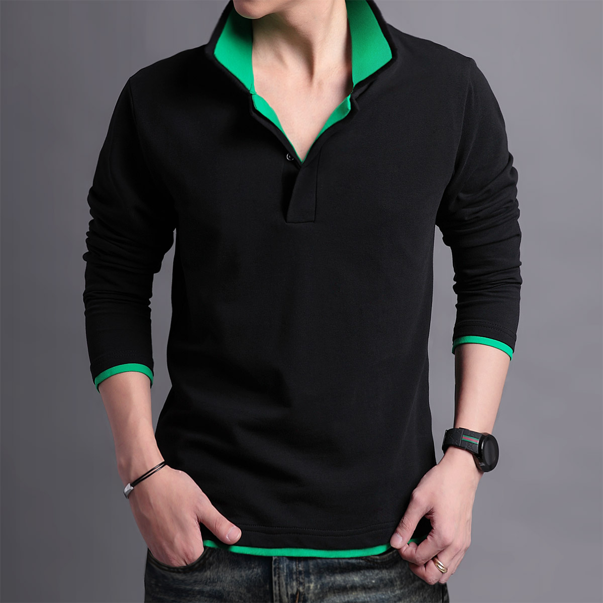 Hot Sell New Mens Long Sleeve Stand Collar T Shirts Slim Casual T