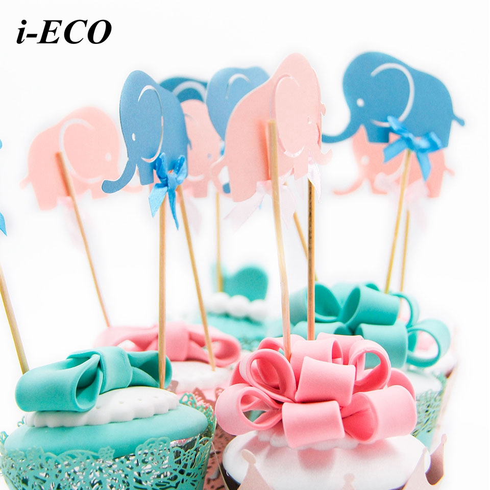 10pcs mini elephant cupcake toppers cute crafts decoration for