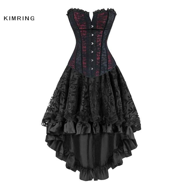 Kimring Women Steampunk Corsets Dress Vintage Gothic Overbust Corset Dress Waist Corset Sexy Lace Waist Trainer Bustiers Corset