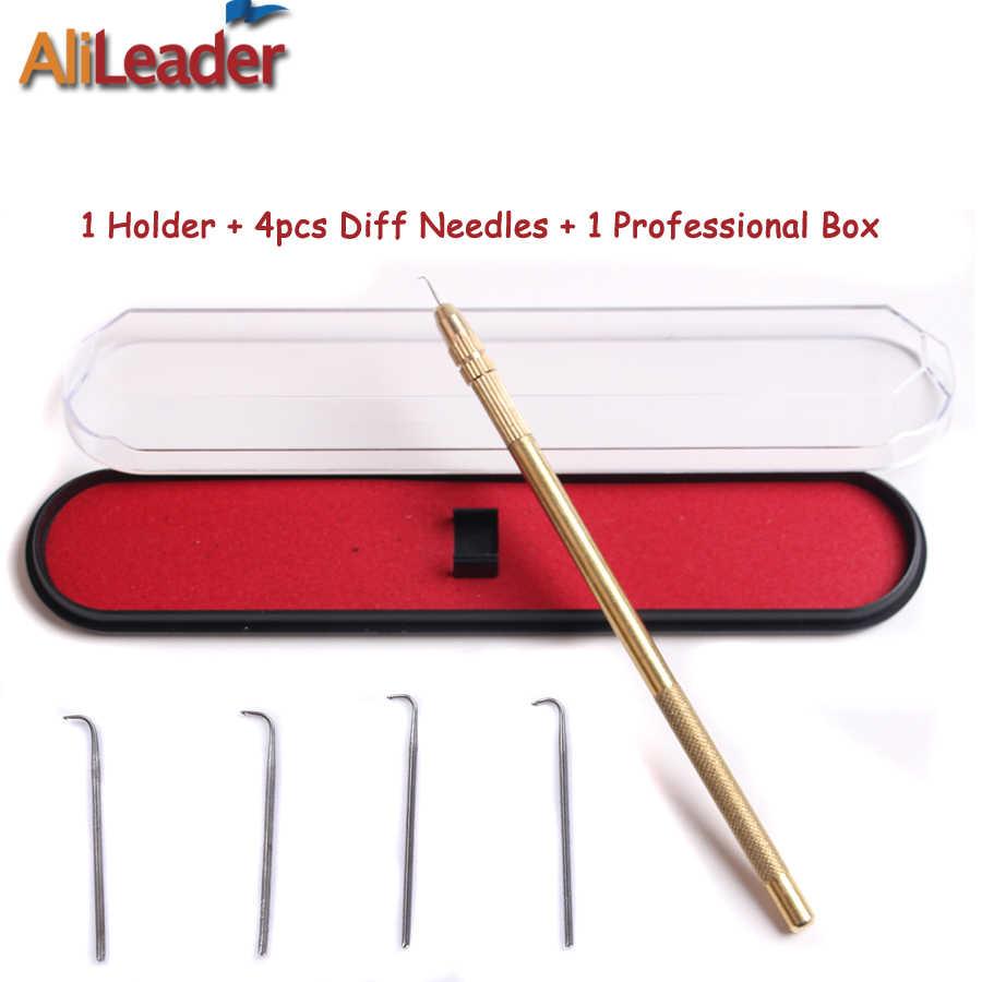 Soporte de ventilación de encaje de aguja y bronce alemán para accesorios de Peluca de encaje (1-1,1-2,2-3,3-4) 4 Uds Kit de agujas de acero inoxidable