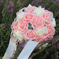 Pink Elegant Bridal Wedding Bouquet Plastic Roses,Romantic Wedding Artificial flowers bridal bouquets Wedding Accessies 2017 P1