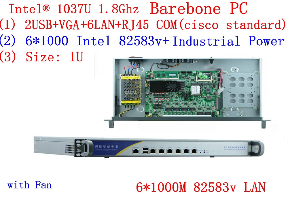 1U Firewall Server Intel C1037u Dual-core Platform 6 Gigabit LAN 82583v Support Panabit Wayos ROS Mikrotik PFSense Barebone PC