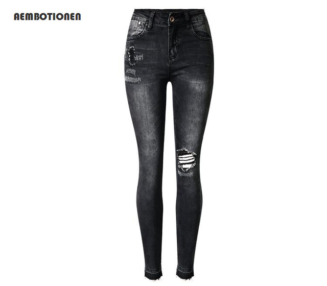 263196a9985ad 2017 Spring High Waist Pencil Pants Sexy distress rip hole jeans Women  Vintage Tassel hem gray black skinny pants jeans female