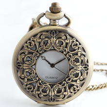 Vintage Bronze Steampunk Flower Carved Pocket Watch Necklace Pendant Women Jewelry Gifts