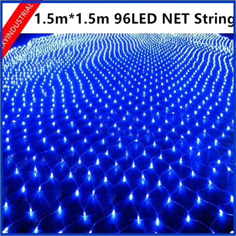 96 led mesh net string light 1.5m x 1.5m Web Fairy Light Christmas Wedding Party Garden Xmas Garland tree Decor-9colors optional