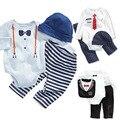Джентльмен мальчик установить 2015 ребенка печати комбинезон + шляпа + брюки новорожденных одежда осень с длинными рукавами детские костюмы мальчик одежды