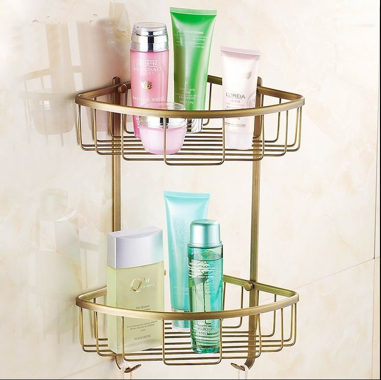 Free Shipping High Quality Antique Brass Bathroom Shelves 2-Tier Bathroom Storage Basket Wall Mount Shelves Antique Double shelf free shipping high quality bathroom kitchen washroom wall door back single hook antique brass cloths cap bag key hooks 239