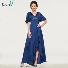 efbbe9b1bf Dressv azul oscuro elegante vestido de cuello en v rebordear piso longitud  cremallera larga madre vestido de noche personalizado
