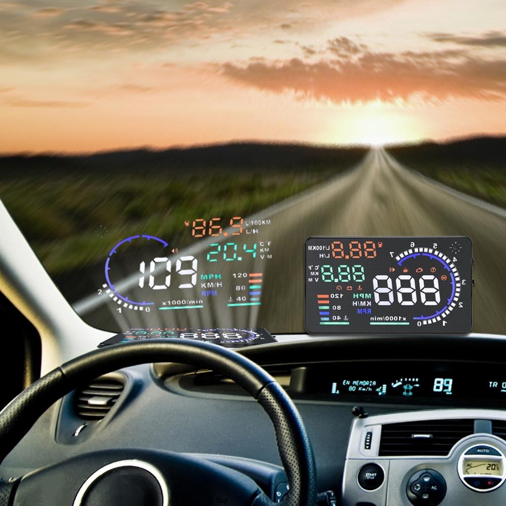 5.5 дюймов автомобилей HUD Head Up Дисплей ветрового стекла проектор автомобиля OBD II Скорость предупреждение расход топлива вождение автомобиля данных диагностики