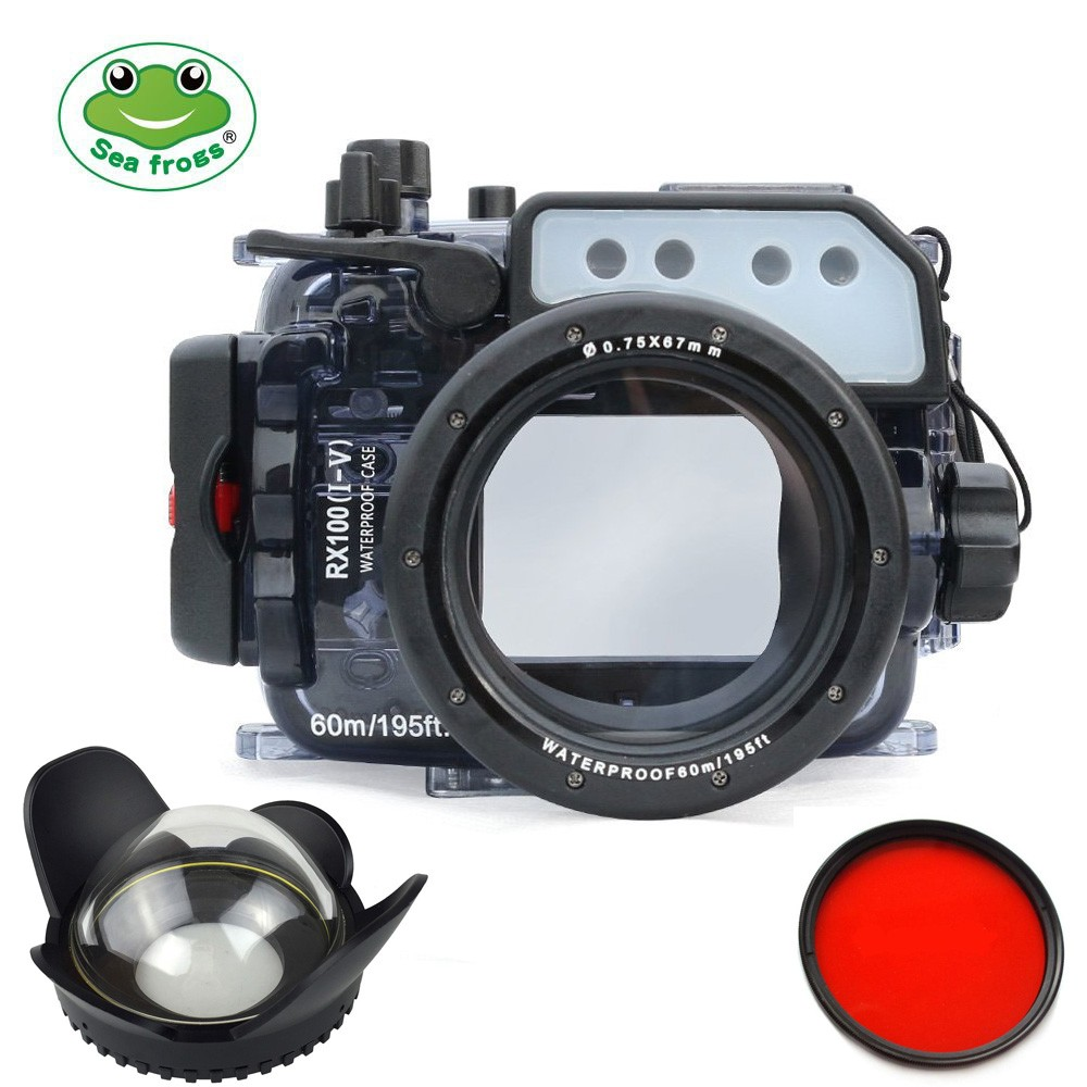 Seafrogs 60m/195ft Underwater Camera Waterproof Housing Case For SonyRX100/RX100 II+200mm Fisheye Wide Angle Lens+Red Filter