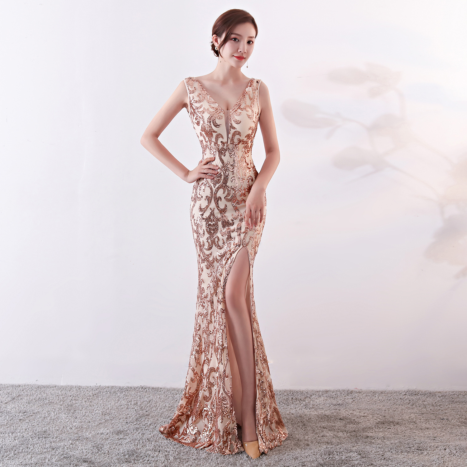 Corstory Elegant Women Fashion Rose Gold Sequin Sexy V Neck Sleeveless Side Slit Long Mermaid Slim Celebrity Club Party Dress XL