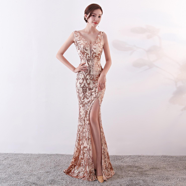 Corstory femmes élégantes mode Rose or Sequin Sexy col en v sans manches fente latérale longue sirène mince célébrité Club robe de soirée XL
