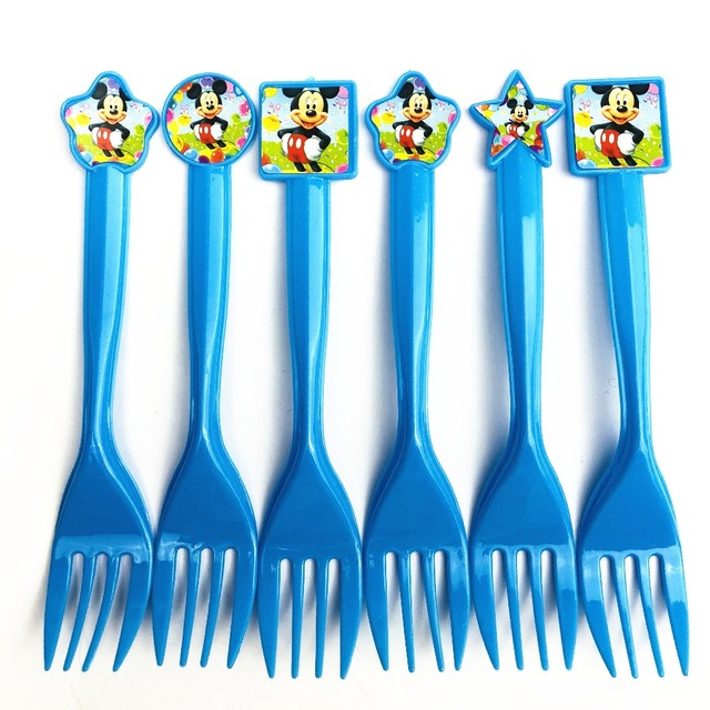 6pcs Baby Mickey Mouse Carton Party Decorations Disposable Forks 2 Year Old Boy Birthday Themes Supplies Plastic