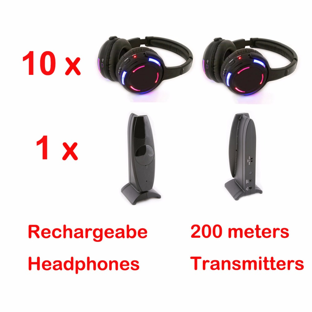 Silent Disco 10 LED Headphones with 1 transmitter RF Wireless For iPod MP3 DJ Music