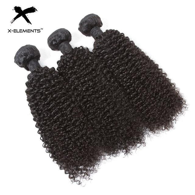 X-Elements Brazilian Kinky Curly Hair Bundles 1/3/4 Pcs Remy Human Hair Weave Bundles 8-28 Inch Natural Color Hair Extensions 3